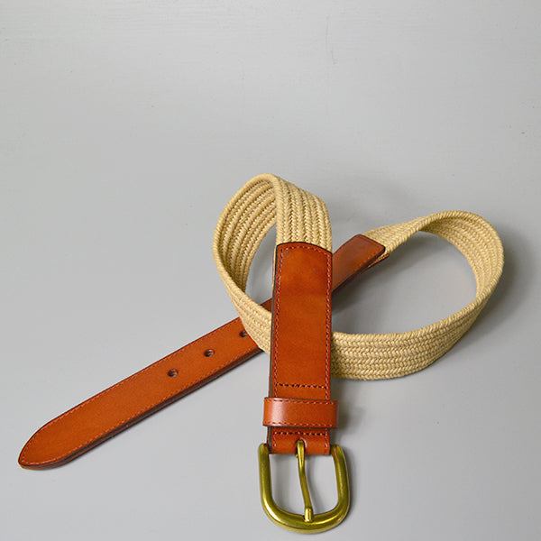 FAIRLIGHT- Addison Road Cotton Weave Elastic Leather Belt  - Belt N Bags