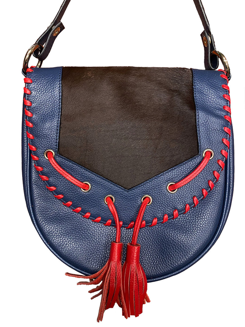 GUNDY - Indy Pebbled Leather Cow Hide Cross Body Bag with Tassels  - Belt N Bags