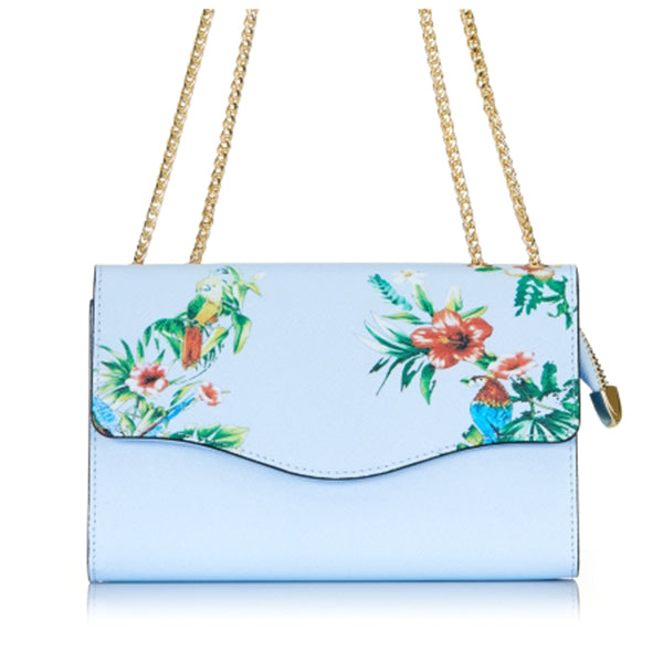 IVANHOE - Addison Road Blue Leather Clutch Bag with Tropical Print - BeltNBags