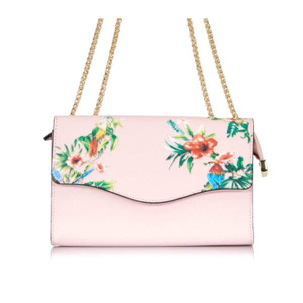 IVANHOE - Addison Road Blush Leather Clutch Bag with Tropical Print  - Belt N Bags