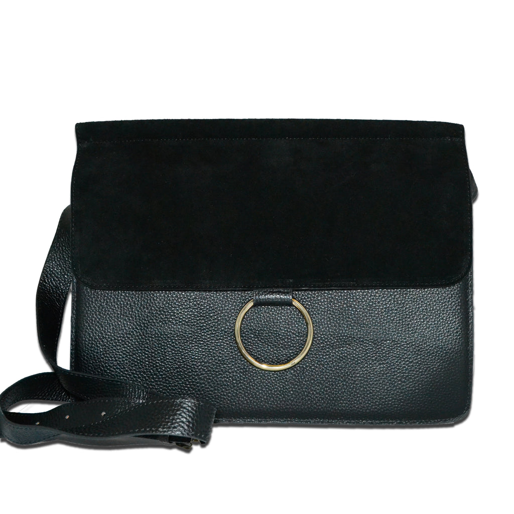 LEICHHARDT- Addison Road Pebbled Leather & Suede Shoulder Bag  - Belt N Bags