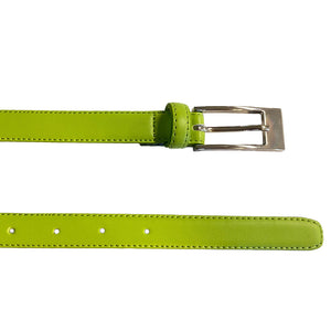 DEANEEN - Womens Lime Genuine Leather Skinny Belt with Silver Buckle  - Belt N Bags