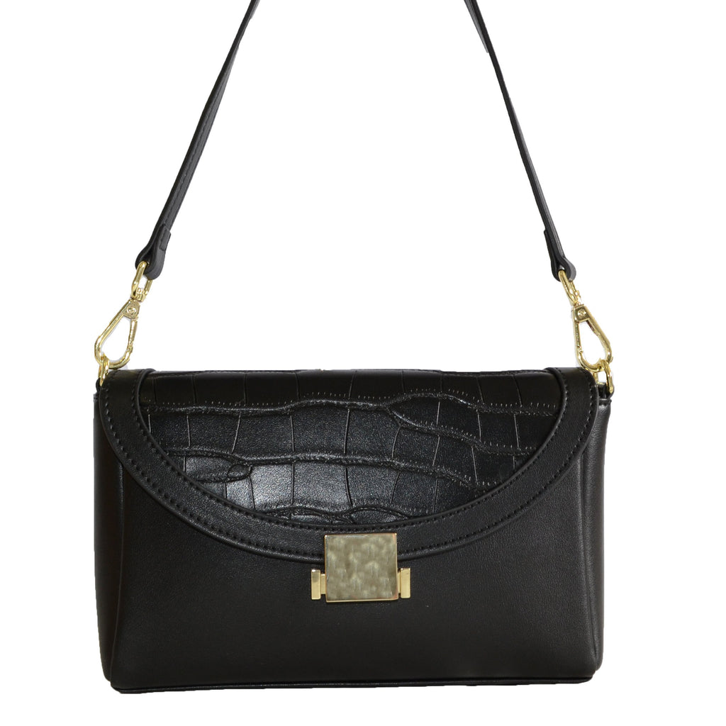 LISMORE-  Black Crocodile Look Leather Cross Body Bag  - Belt N Bags