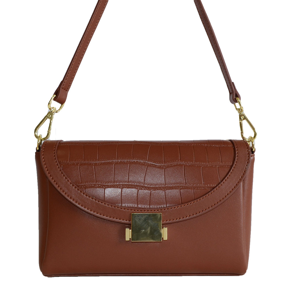 LISMORE-  Brown Crocodile Look Leather Cross Body Clutch - BeltNBags