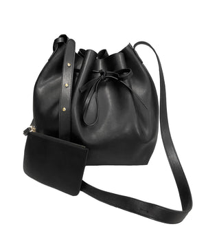 MELBOURNE - Black Soft Genuine Leather Bucket Bag  - Belt N Bags