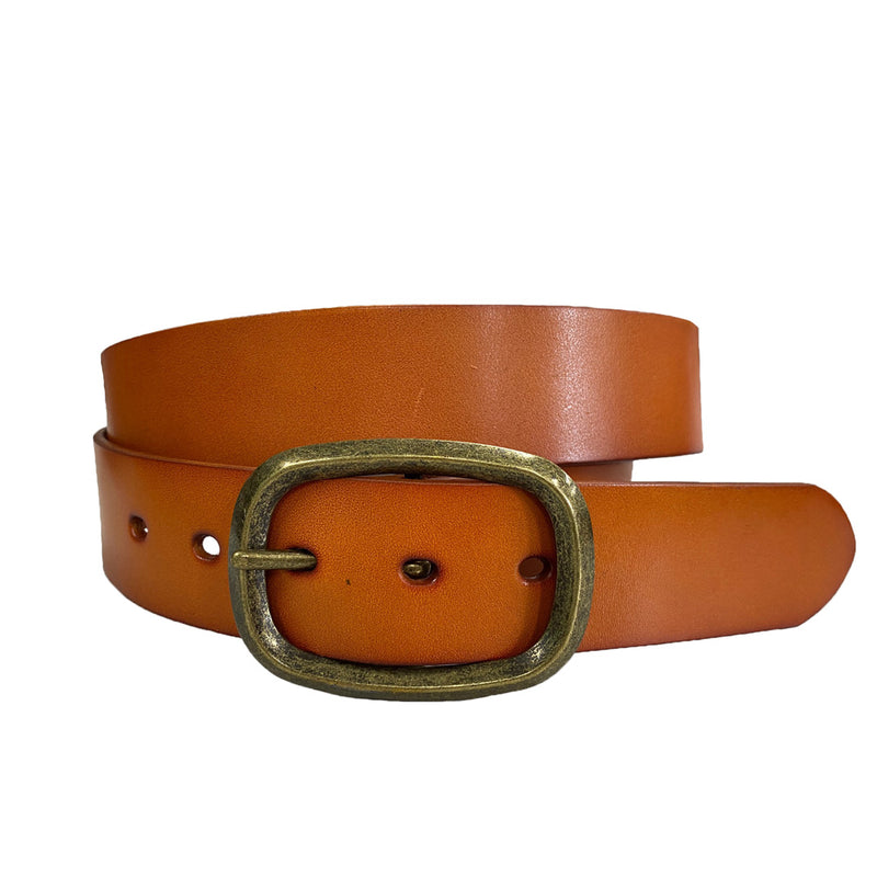 NOWRA - Women's Tan Genuine Leather Belt with Brushed Gold Buckle