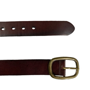 NOWRA - Women's Brown Genuine Leather Belt with Brushed Gold Buckle