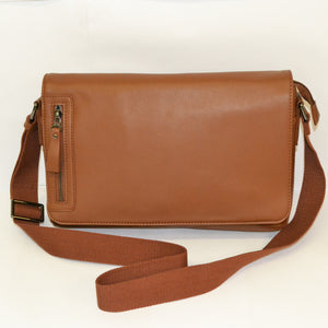 Perth - Mens Brown Leather Business Satchel Crossbody Messenger Bag - BeltNBags