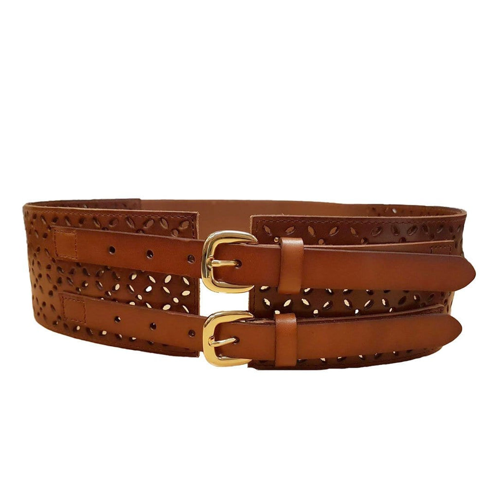 PICTON - Addison Road Leather Wide Double Buckle Tan Waist Belt