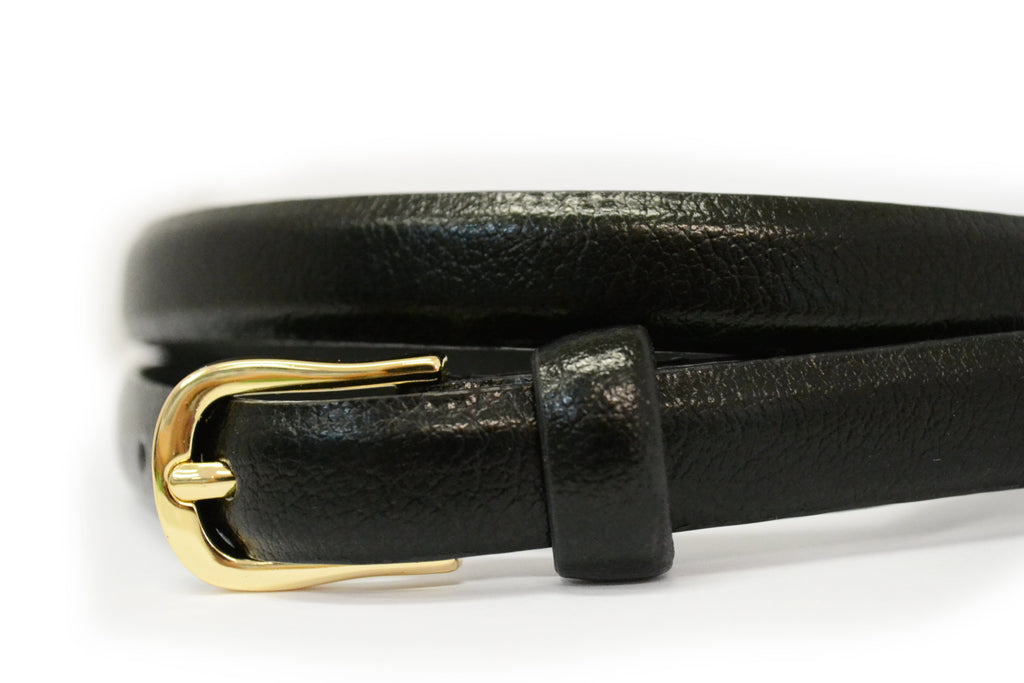 PIPER - Womens Black Genuine Leather Skinny Belt  - Belt N Bags