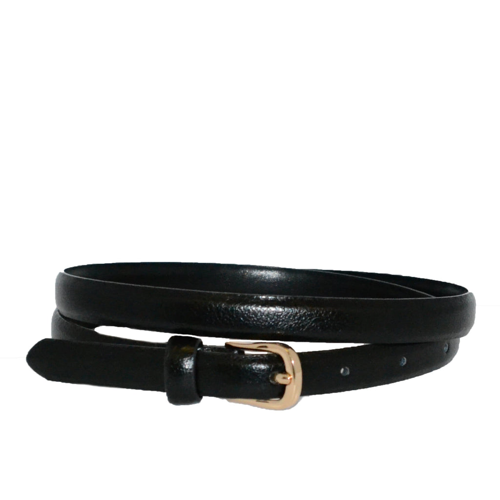 PIPER - Womens Black Genuine Leather Skinny Belt - BeltNBags