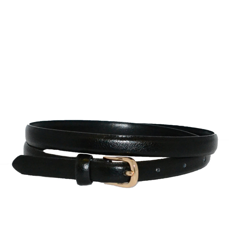 PIPER - Womens Black Genuine Leather Skinny Belt-Ladies Belts-Mink & Satchel-BeltNBags
