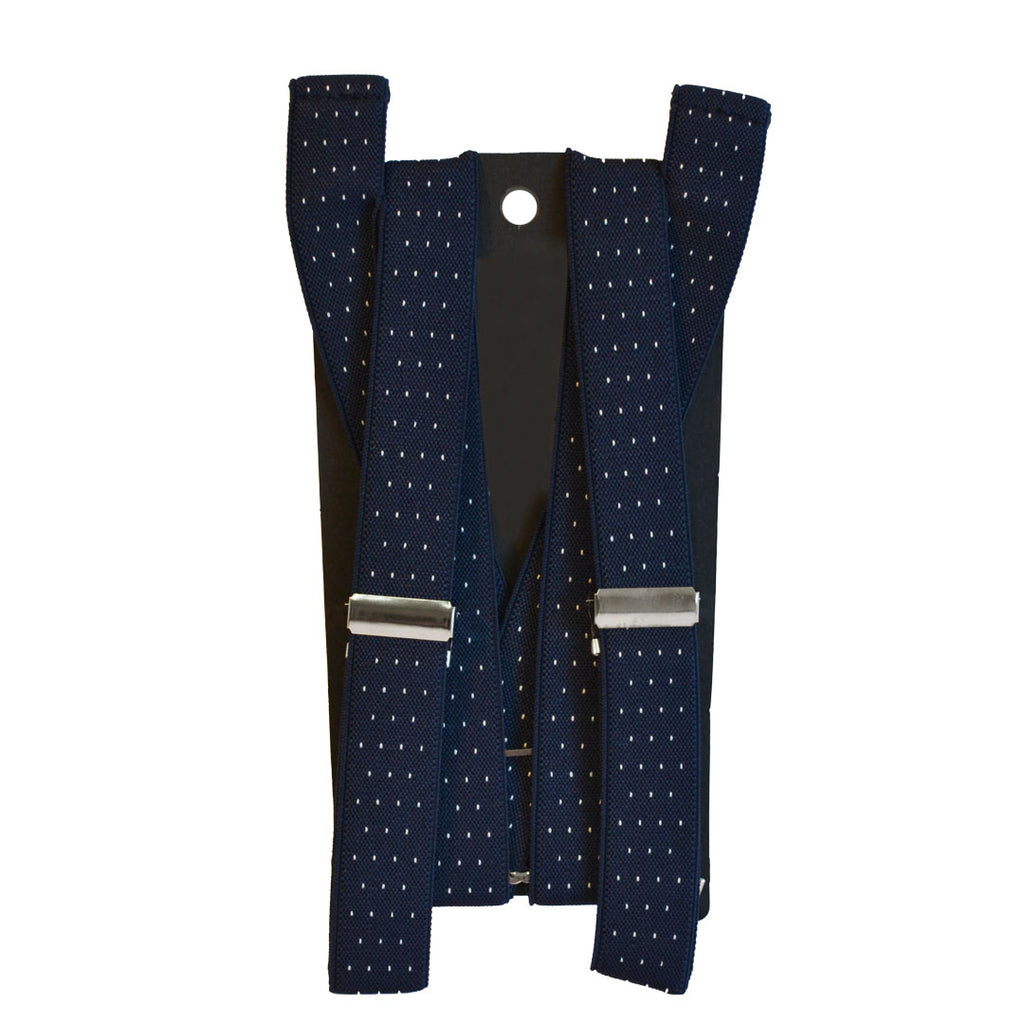 ALFRED - Mens Navy Blue and White Dotted Braces  - Belt N Bags