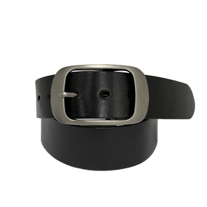 ROBIN FALLS - Women's Black Genuine Leather Belt with Oval Silver Buckle