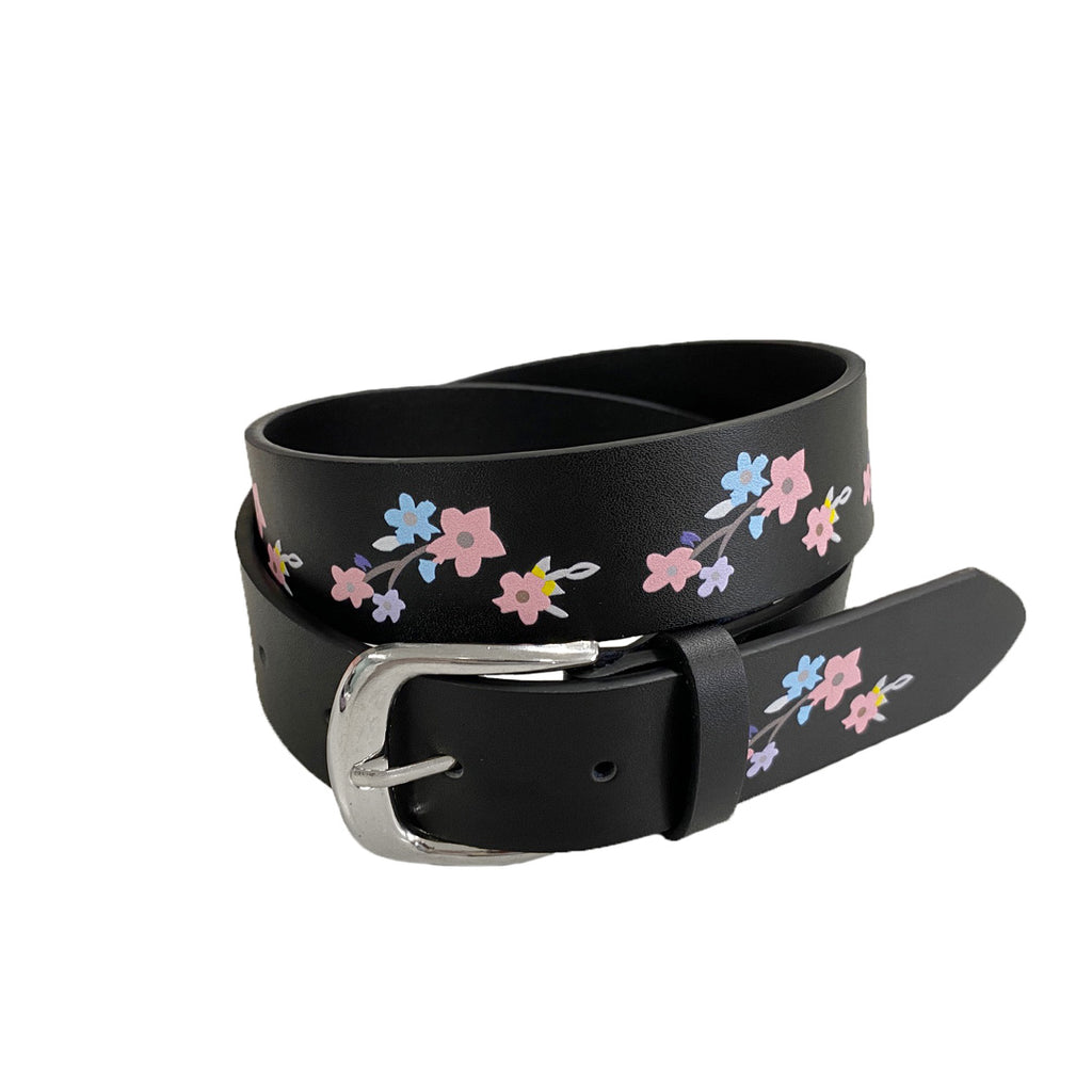 ARIA- Girls Black Genuine Leather Flower Belt with Square Silver Buckle