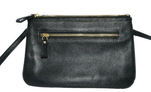 ST KILDA - Addison Road Black Genuine Leather Crossbody with black calf hair  - Belt N Bags