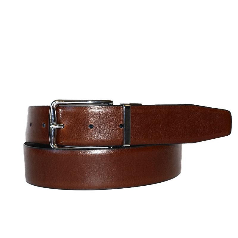 STEFANO - Mens Black and Brown Reversible Genuine Leather Belt