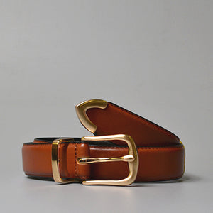 SURRY HILL - Women's Tan Genuine Leather Belt with Gold Buckle  - Belt N Bags