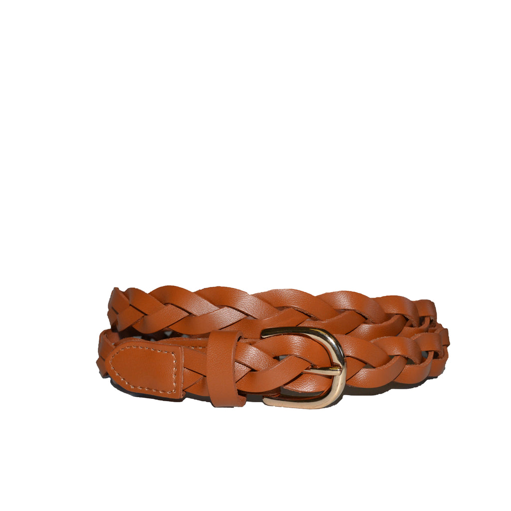 WAVERLY - Womens Tan Premium Leather Plaited Belt