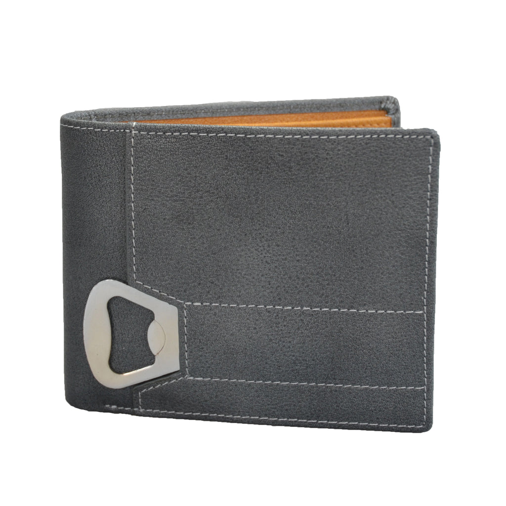 Tiger - Mens Grey Genuine Leather Wallet Bottle Opener in Gift Box - BeltNBags