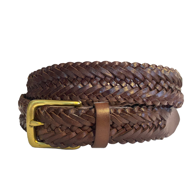 WAGNER - Mens Brown Leather Plait Belt  - Belt N Bags