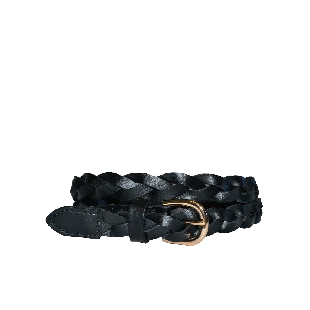 WAVERLY - Womens Black Skinny Leather Plaited Belt with Gold Buckle
