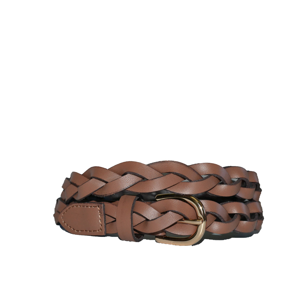 WAVERLY - Womens Brown Skinny Leather Plaited Belt with Gold Buckle