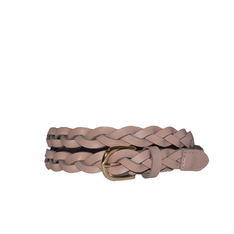 WAVERLY - Womens Blush Pink Skinny Leather Plaited Belt with Gold Buckle