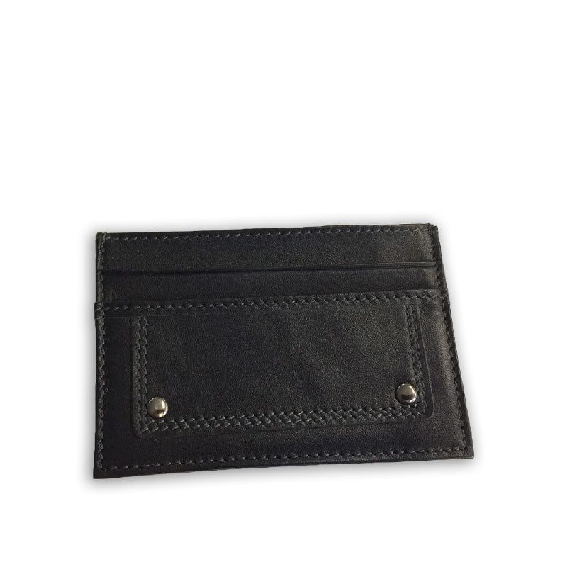 WILLIS - Mens Black Genuine Compact Thin Leather Cardholder Wallet
