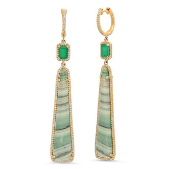Emerald, Agate and Diamond Earrings | Harrisons Collection
