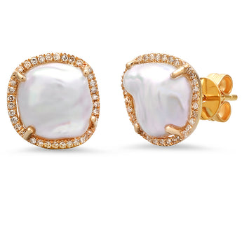 Diamond and Pearl Studs | Harrisons Collection