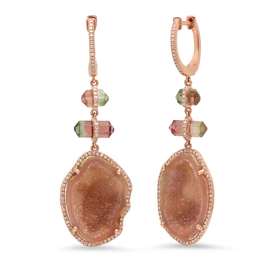 Geode and Tourmaline Earrings | Harrisons Collection