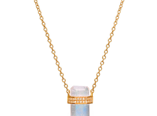 Diamond Wrapped Moonstone Necklace | Harrisons Collection