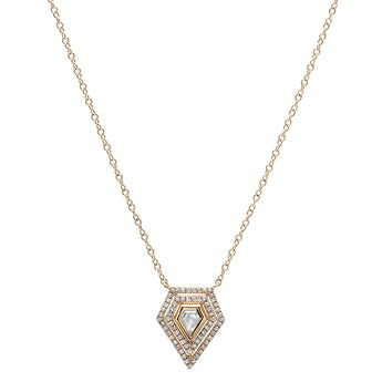 Rose Cut Diamond Shield Necklace | Harrisons Collection