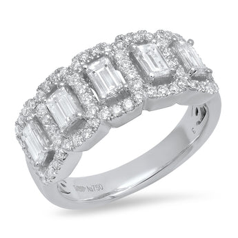 Emerald Cut Diamond Halo Band | Harrisons Collection