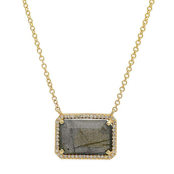 Diamond and Labradorite Rectangle Necklace | Harrisons Collection