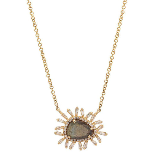 Labradorite and Baguette Diamond Necklace | Harrisons Collection