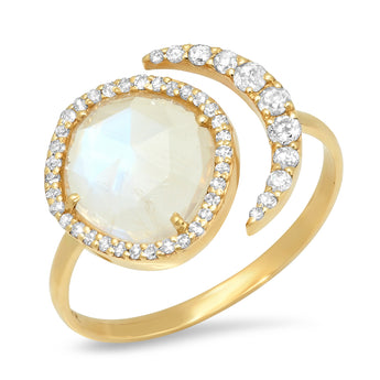 Moonstone Crescent Moon Ring | Harrisons Collection