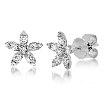 Diamond Flower Studs | Harrisons Collection