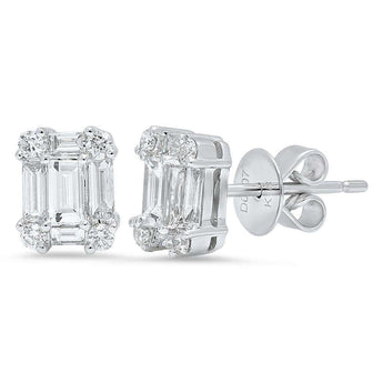 Emerald Cut and Round Diamond Studs | Harrisons Collection