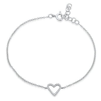 Open Diamond Heart Chain Bracelet