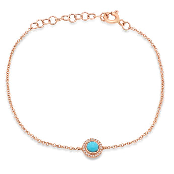 Diamond and Turquoise Chain Bracelet