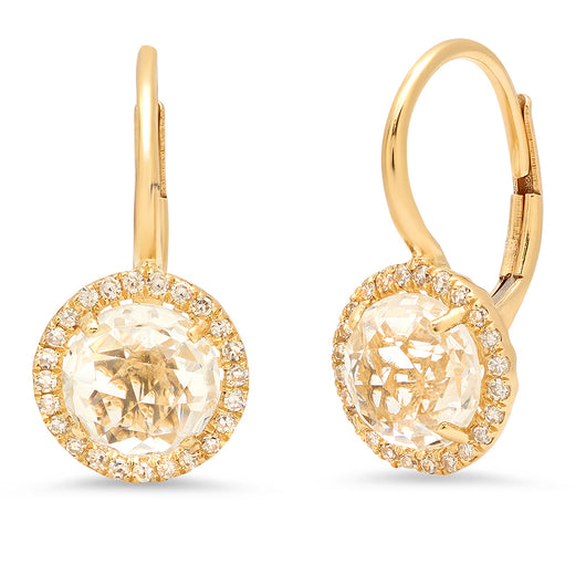 Round White Topaz Earrings | Harrisons Collection