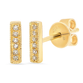 Diamond Bar Studs | Harrisons Collection