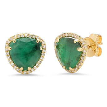 Emerald and Diamond Stud Earrings | Harrisons Collection