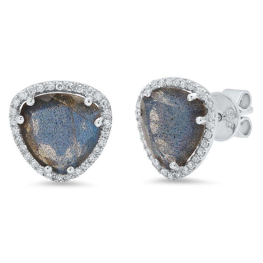 Diamond and Labradorite Stud Earrings | Harrisons Collection