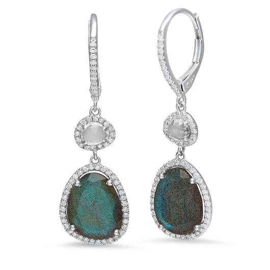 Labradorite and White Topaz Drop Earrings