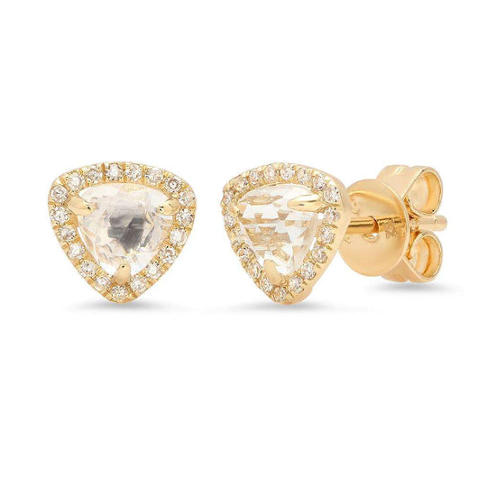 White Topaz and Diamond Stud Earrings | Harrisons Collection