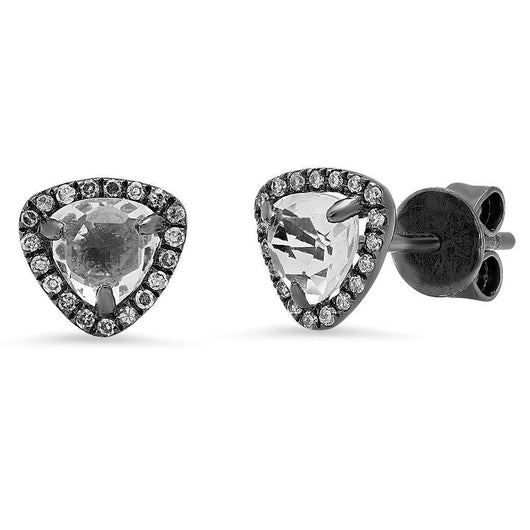 Oxidized White Topaz Studs | Harrisons Collection