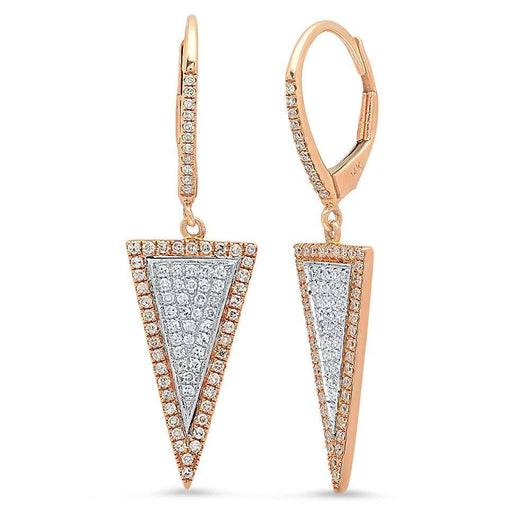 Two Tone Triangle Drop Earrings | Harrisons Collection